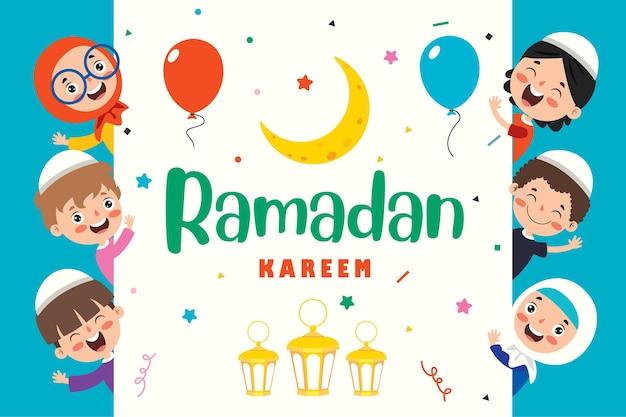 Biglietto di auguri ramadan kareem con bambini e accessori festivi Vettore Premium