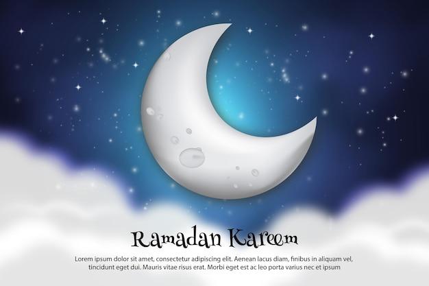 Cartolina d'auguri di ramadan kareem con falce di luna