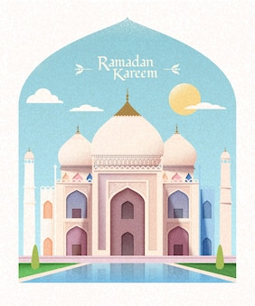 Biglietto di auguri di ramadan kareem con moschea elegante in stile piatto con moschea e sole