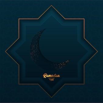 Biglietto di auguri ramadan kareem con stella d'oro