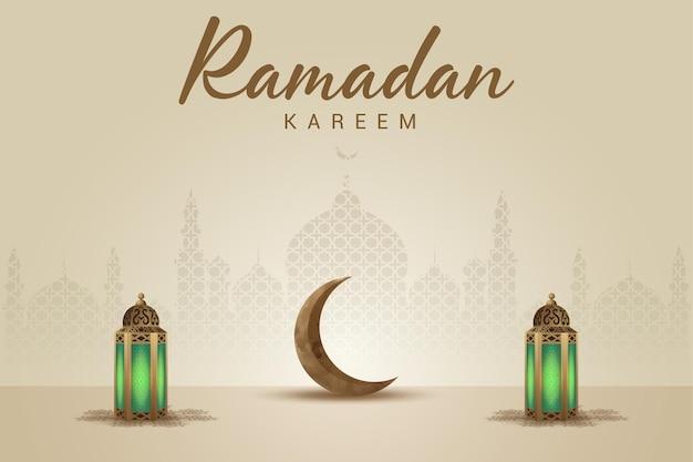 Cartolina d'auguri di ramadan kareem con lanterne dorate, luna d'oro e moschea