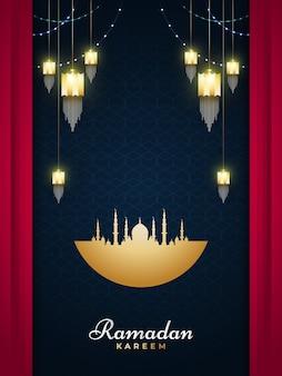 Cartolina d'auguri di ramadan kareem con lanterne dorate e moschea