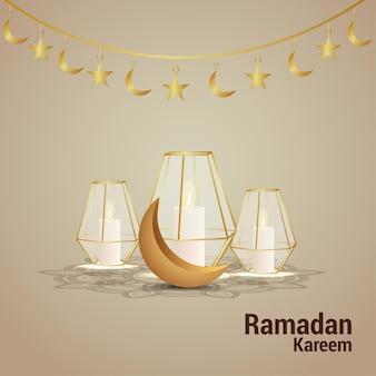 Biglietto di auguri ramadan kareem con luna dorata e lanterna creativa