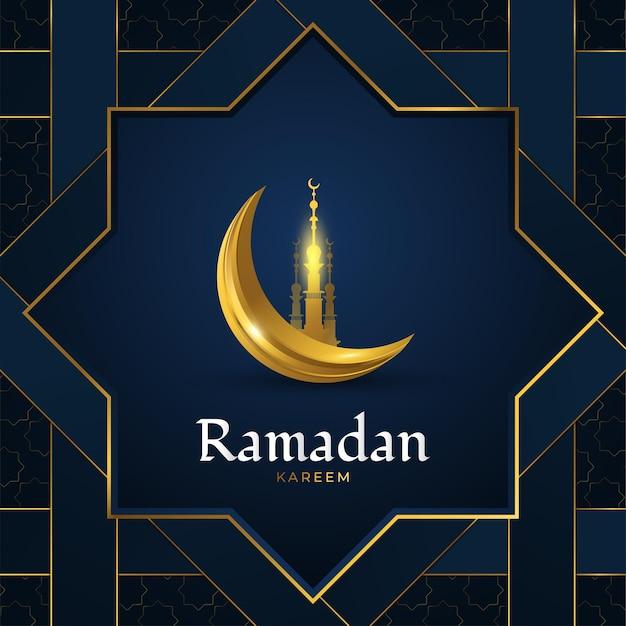 Biglietto di auguri ramadan kareem con moschea dorata e luna crescente