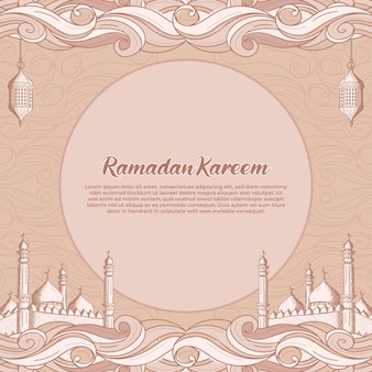 Cartolina d'auguri di ramadan kareem con illustrazione disegnata a mano della moschea islamica e della lanterna