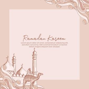 Cartolina d'auguri di ramadan kareem con illustrazione disegnata a mano della moschea e del cavaliere del cammello