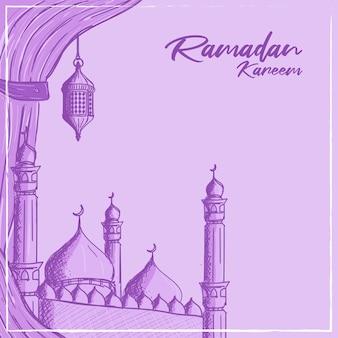 Cartolina d'auguri di ramadan kareem con illustrazione disegnata a mano della moschea e della lanterna