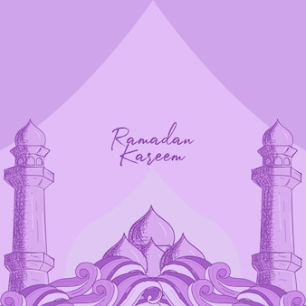 Cartolina d'auguri di ramadan kareem con illustrazione disegnata a mano della moschea