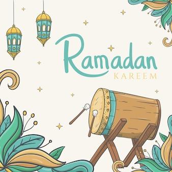 Cartolina d'auguri di ramadan kareem con disegnato a mano dell'ornamento islamico del ramadan