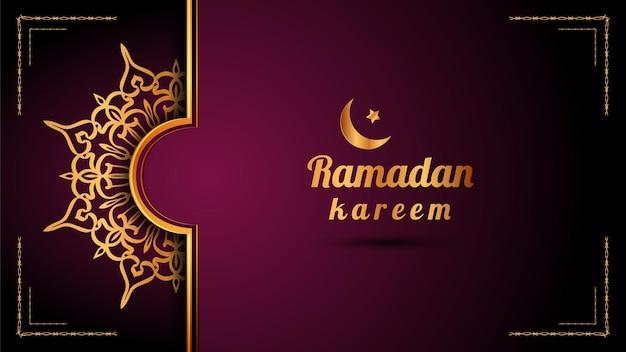 Biglietto di auguri di ramadan kareem con mandala di lusso