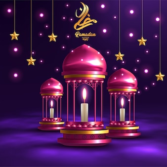 Cartolina d'auguri di ramadan kareem con lampade rosse