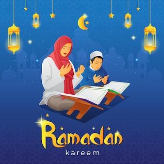 Biglietto di auguri ramadan kareem con la donna che prega e suo figlio dopo aver letto il sacro corano