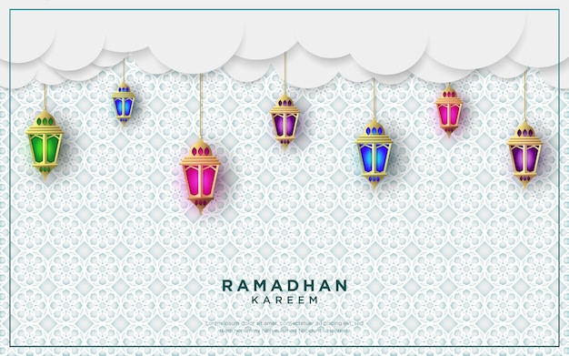 Ramadan kareem saluti design con sfondo di lanterne. illustrazione.
