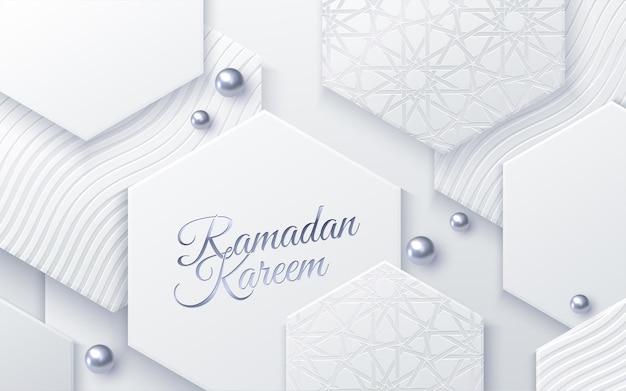 Segno di festa di ramadan kareem su forme geometriche bianche e perle