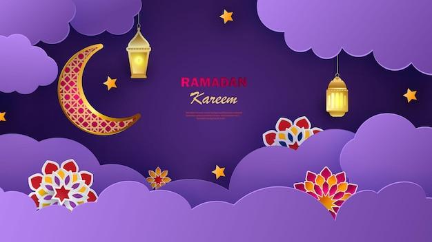Insegna orizzontale di ramadan kareem con stelle e fiori 3d arabesque