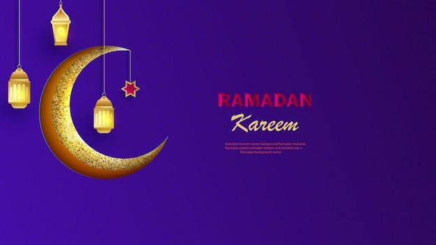Banner orizzontale di ramadan kareem con luna e lanterne tagliate con carta