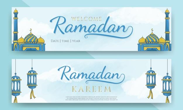 Intestazione orizzontale di ramadan kareem con ornamento islamico disegnato a mano