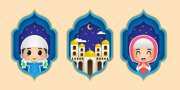 Insieme dell'illustrazione di ramadan kareem