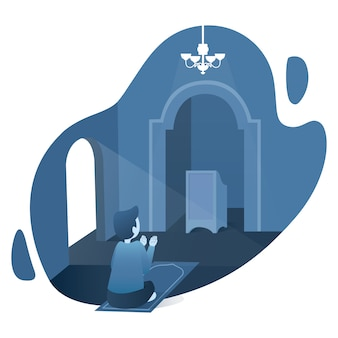Ramadan kareem illustration with moslem prayer