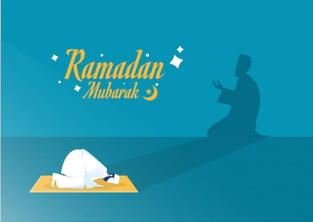 Ramadan kareem islam vacanza con ombra ramadan taraweeh preghiera preghiera serale