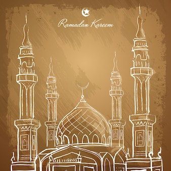 Schizzo islamico della moschea del profilo del fondo di ramadan kareem