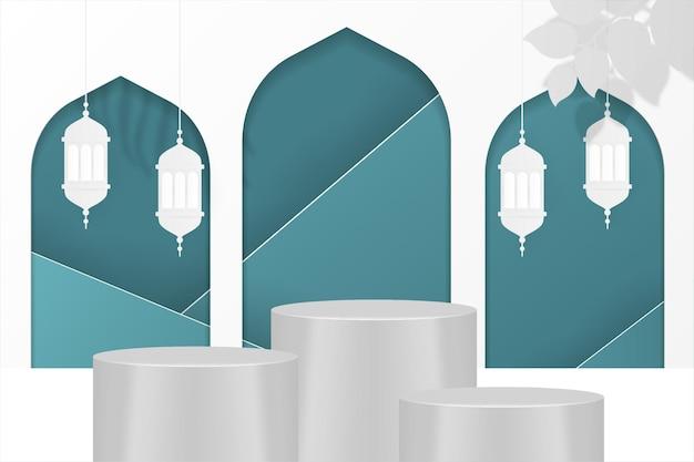 Ramadan kareem sfondo islamico podio blu tosca