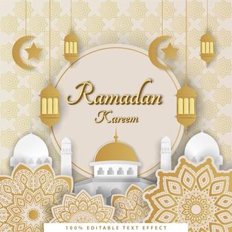 Ramadan kareem sfondo islamico con stile taglio carta bianca oro, effetto di testo modificabile.