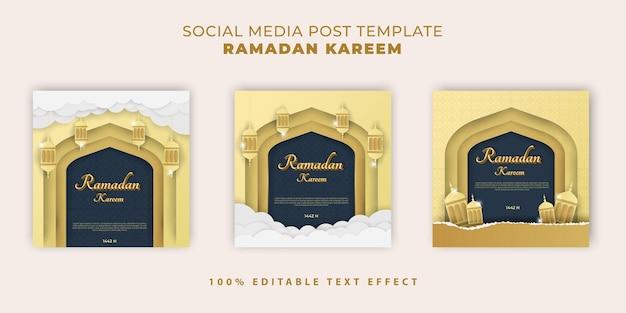 Banner islamico di ramadan kareem con stile taglio carta blu scuro oro