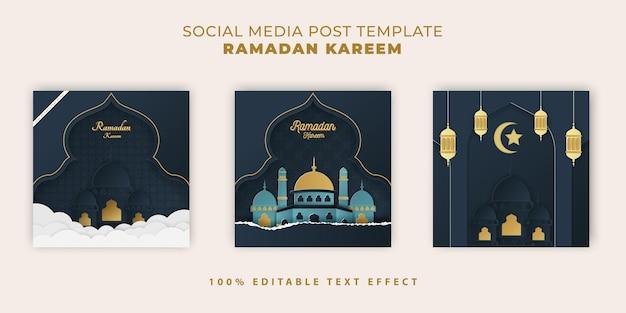 Banner islamico di ramadan kareem con stile taglio carta blu scuro tosca
