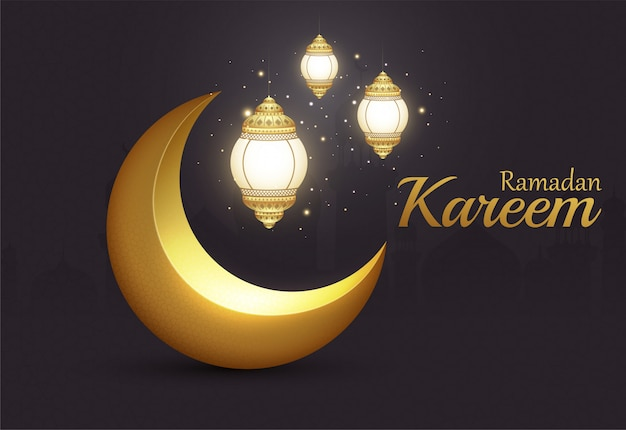 Ramadan kareem mezzaluna dorata brillante islamica con lanterne incandescenti