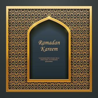 Ramadan kareem design islamico moschea porta finestra trafori.