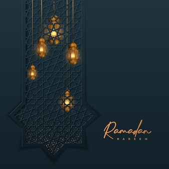 Design islamico ramadan kareem con sfondo geometrico lanterna dorata