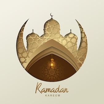 Ramadan kareem design islamico con lanterna dorata e sagoma della moschea geometrica