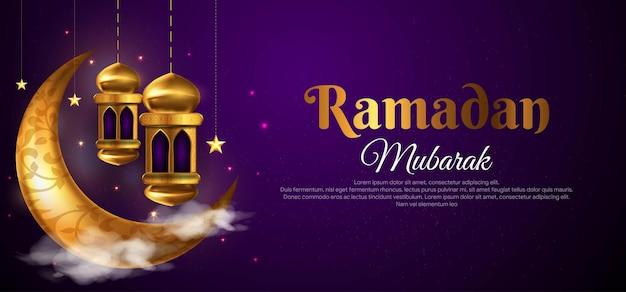 Sfondo di saluto islamico di ramadan kareem con falce di luna, lanterna, stella e motivo arabo