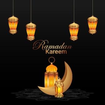 Biglietto di auguri islamico ramadan kareem e sfondo con lanterna dorata