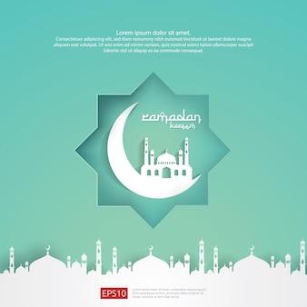 Progettazione islamica della cartolina d'auguri di ramadan kareem con 3d