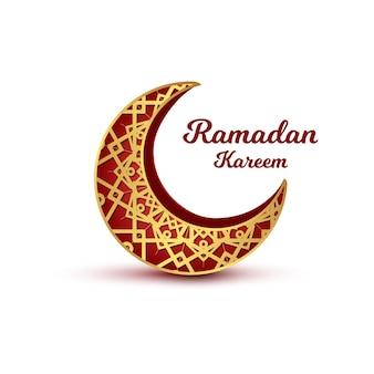 Biglietto di auguri islamico di ramadan kareem con falce di luna realistica