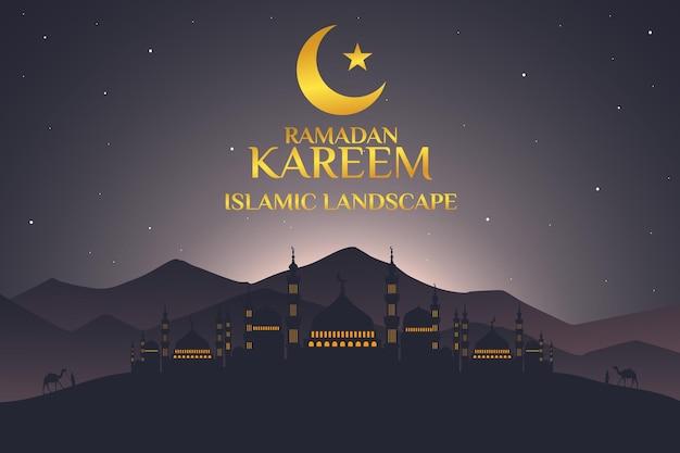 Ramadan kareem paesaggio islamico moschea piatta cielo di montagna notte bella