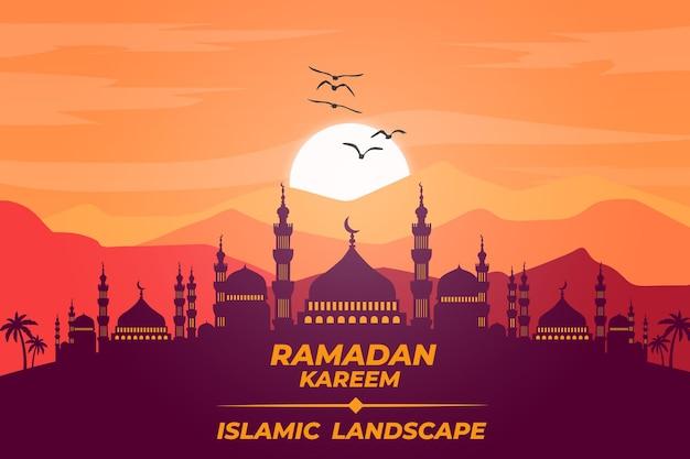 Tramonto del cielo della montagna della moschea piana del paesaggio islamico di ramadan kareem