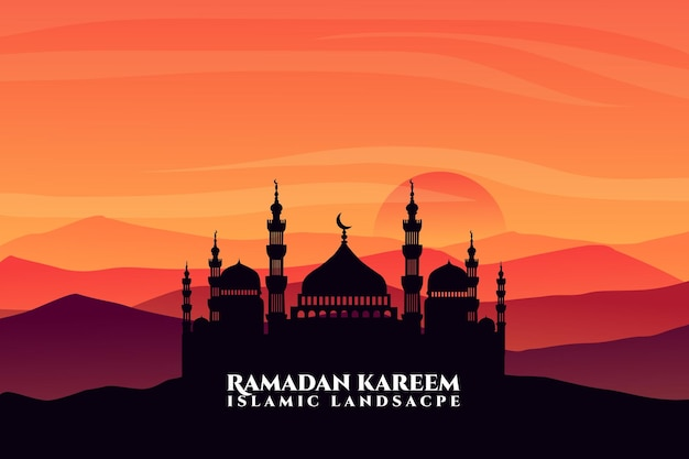 Cielo di tramonto della moschea piana del paesaggio islamico di ramadan kareem