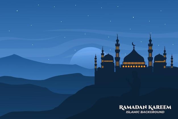 Moschea di sfondo islamico piatto del paesaggio di ramadan kareem