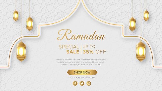 Ornamento islamico della bandiera di vendita di lusso di ramadan kareem