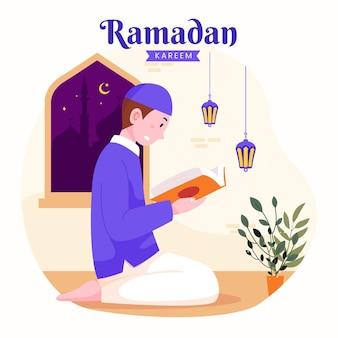 Ramadan kareem mubarak con uomo che legge il corano durante il digiuno,