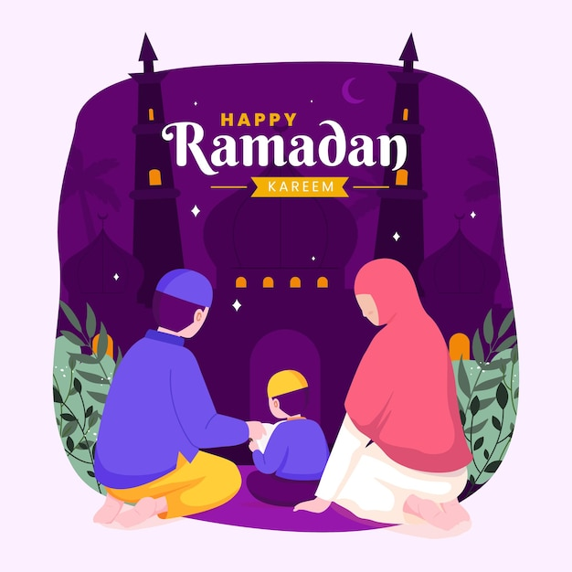 Ramadan kareem mubarak con i genitori che insegnano il corano a suo figlio durante il digiuno,