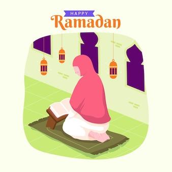 Ramadan kareem mubarak con donna che legge il corano durante il digiuno,