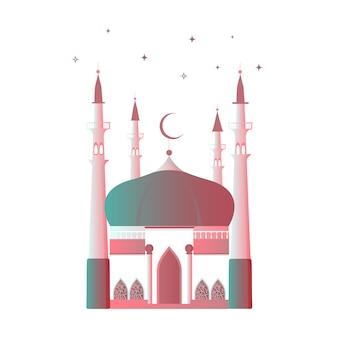 Kareem ramadan. moschea musulmana con una falce di luna e un minareto