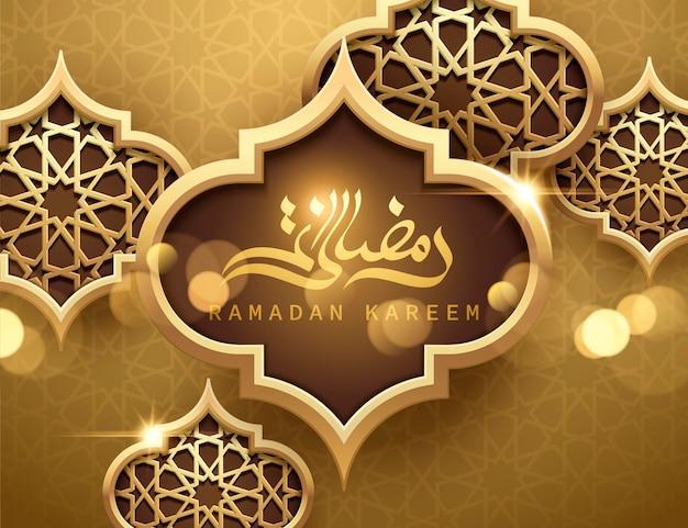 Poster ramadan kareem, calligrafia araba dorata a forma di lanterna ramadan