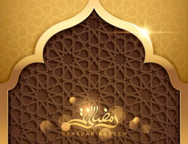 Poster ramadan kareem, calligrafia araba dorata con motivo geometrico a forma di moschea