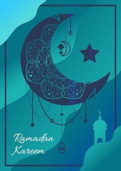Poster di ramadan kareem con luna crescente