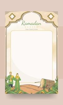 Poster di ramadan kareem con ornamento islamico disegnato a mano